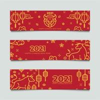 conjunto de estandartes do ano novo chinês do boi dourado vetor