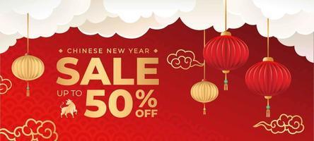 comemorar banner de venda do ano novo chinês vetor