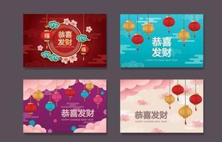 coleção de cartões comemorativos do ano novo chinês vetor
