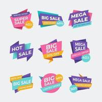 conjunto de etiqueta de promoção de venda de marketing vetor