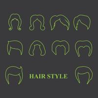 conjunto de estilo de corte de cabelo vetor