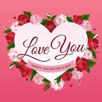 símbolo de coração e rosas de amor vetor