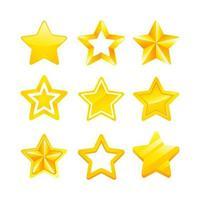 vários ícones de estrelas douradas vetor