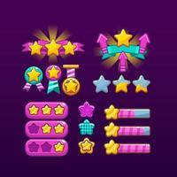 ícones de estrela da interface do usuário de jogos legais e coloridos vetor