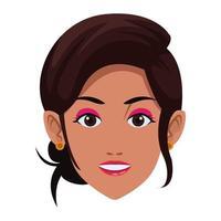 avatar rosto de mulher indiana vetor