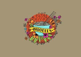 Noodle Bowl Flowers Tattoo Style Art vetor