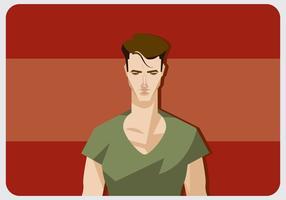 Homem legal com vetor de camisa com v-pescoço