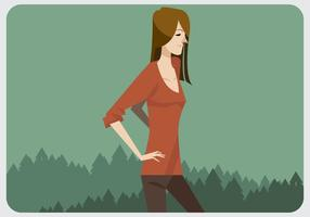 Uma menina com camisa vermelha do pescoço com pescoço vetor