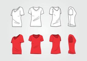 Molde da camisa do pescoço da mulher V vetor
