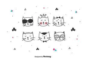 Conjunto de vetores de gatos fofos