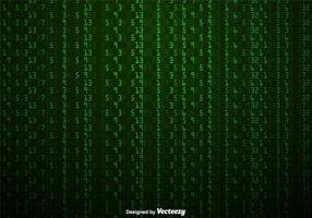 Vetor fundo verde de números em estilo matricial