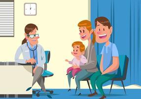 Vector pediatra com bebê e seus pais