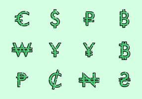 Símbolos monetários do mundo vetor