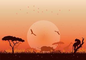 Vetor de ilustração ardente de savana