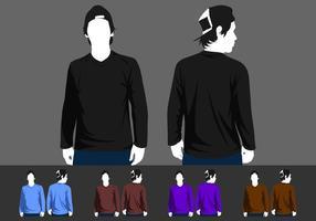 V-Neck manga comprida modelo vector livre