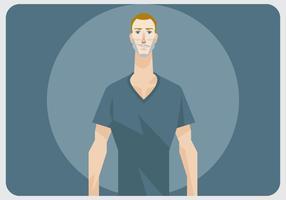 Um homem com camisa com pescoço V vetor