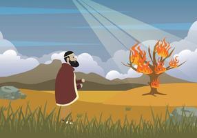 Ilustração gratuita de Moses e Burning Bush vetor