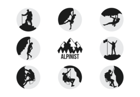 Alpinists Silhouettes Vector