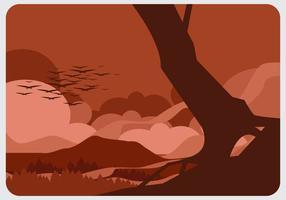 Vetor floresta em chamas