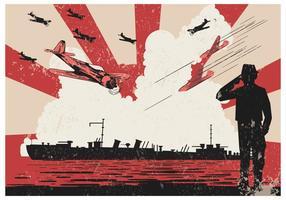 Kamikaze Bombers Over Ship Vector