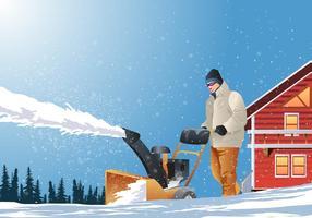 Um homem limpa a neve dos calçadões com neve vetor