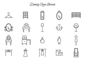 Ícones de vetor de sala de vestir