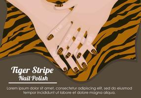 Padrão de esmalte de unha Stripe tigre vetor