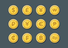 Sinais de moeda do mundo livre vetor