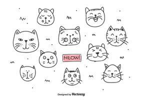 Vetor de cabeças de gatos doodle
