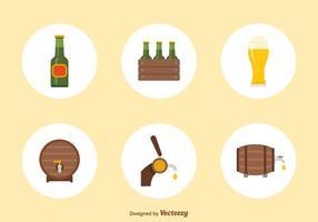 Ícones planos de vetores de cerveja