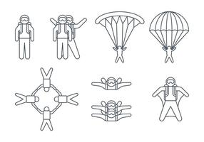 Ícones Skydiver vetor