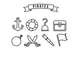 Conjunto de ícones piratas vetor