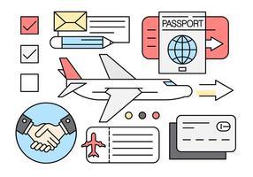 Ícones lineares de viagens de negócios vetor