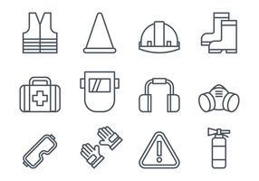 Ícones do equipamento de segurança do trabalho