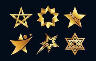 coleção do logotipo da estrela dourada vetor