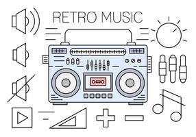 Ícones de música retro linear