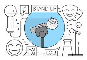Ícones de comédia de stand-up linear vetor