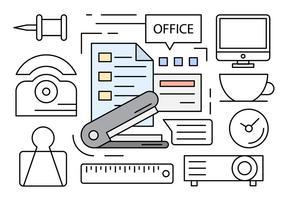 Ícones de escritório lineares vetor