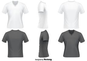 Conjunto de vetores de modelo de camiseta de pescoço em V