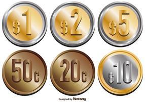 Conjunto de moedas de peso mexicano abstrato do vetor