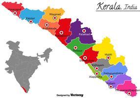 Mapa do vetor Kerala Índia