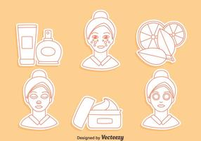 Skincare dermatology line icons vector