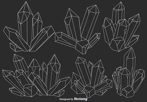 Conjunto de ícones de cristal Quartz de linha vetorial