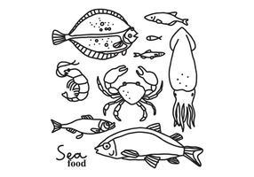 Vetores desenhados à mão de frutos do mar e vida marinha