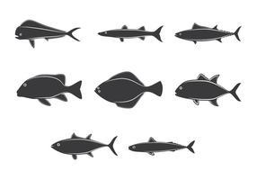 Lineart Ocean Fish Collection desenhado vetor