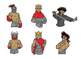 Livre guerreiro mascote vetor 02