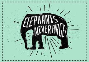 Ilustração vetorial da silhueta do elefante de vetores com tipografia