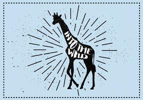 Ilustração vetorial da silhueta do girafa livre com tipografia vetor