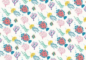 Flounder e Jelly Fish Pattern Texture Vector