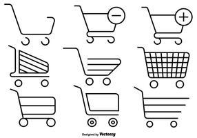 Conjunto de Ícones de linha de carrinho de supermercado vetor